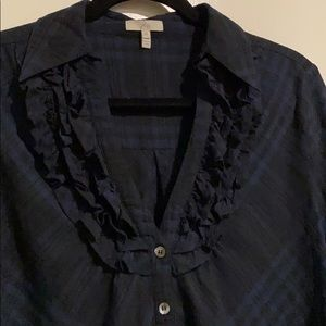 NWOT Joie navy and black plaid ruffle blouse, Sz M